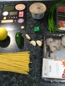 "The ingredients for ""Ozone prawn and prociutto linguine"""